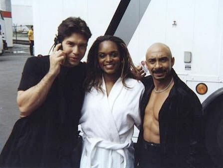 Behind the scenes with Ty Granderson Jones (right) guest starring on UC:UNDERCOVER with Jon Seda (left) and N'Bushe Wright (center).