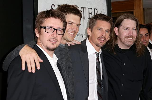 Ethan Hawke, Jason Blum, Scott Derrickson, and C. Robert Cargill at an event for Sinister (2012)