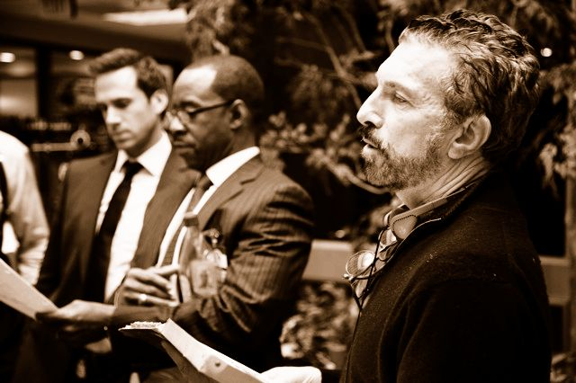on the set directing FLASH FORWARD with Joe Fiennes and Courtney Vance