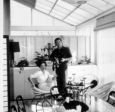 Ida Lupino and her husband, Howard Duff, at home in Los Angeles, CA, 1957.