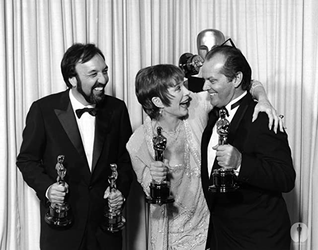 Jack Nicholson, Shirley MacLaine, and James L. Brooks at The 56th Annual Academy Awards (1984)