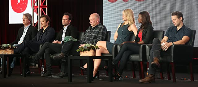 Graham Yost, Joelle Carter, Walton Goggins, Timothy Olyphant, Jacob Pitts, Nick Searcy, and Erica Tazel at an event for Justified (2010)
