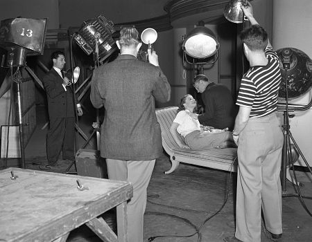 George Hurrell (Lft.), Ann Sheridan, James Cagney, Will Connell (Rt.) at Hurrell's Beverly Hills Studio, c. 1938.