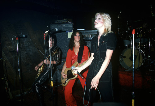 The Runaways (Joan Jett, Jackie Fox, Cherie Currie) performing at CBGB in New York City on August 2, 1976