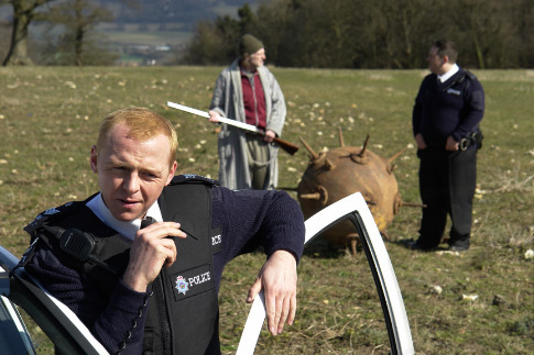 David Bradley, Nick Frost, and Simon Pegg in Hot Fuzz (2007)