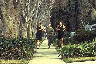 Lester jogs with the Jims