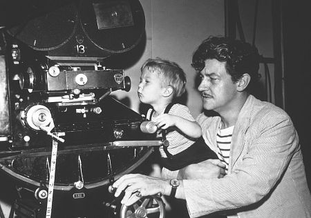 Preston Sturges and 2 year old son directing