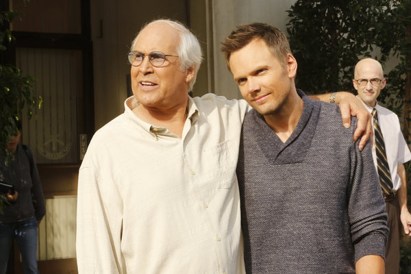 Chevy Chase, Joel McHale, and Jim Rash in Community (2009)