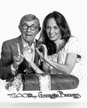 George Burns and Catherine Bach on the set of