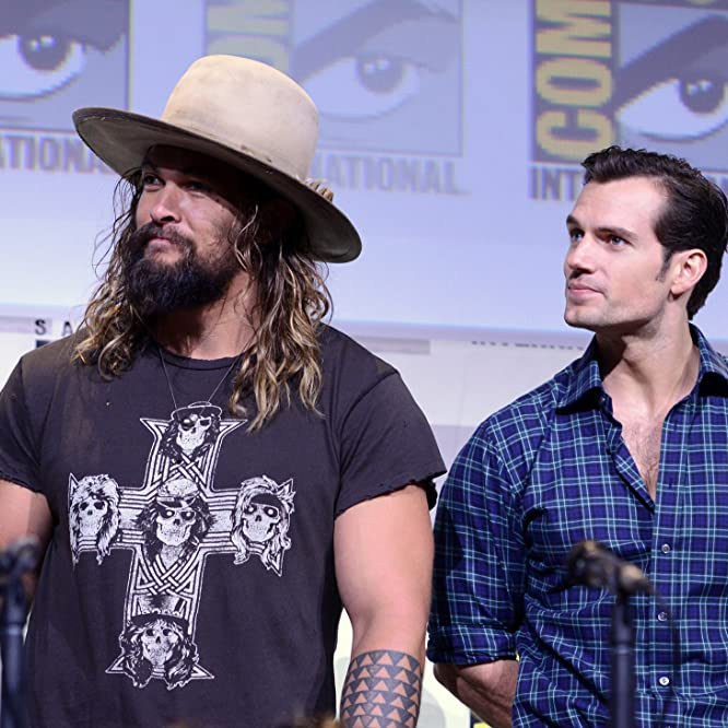 Henry Cavill and Jason Momoa at an event for Justice League (2017)