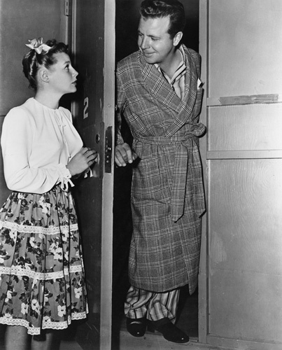 Dick Powell and June Allyson on the Columbia Pictures sound stage where
