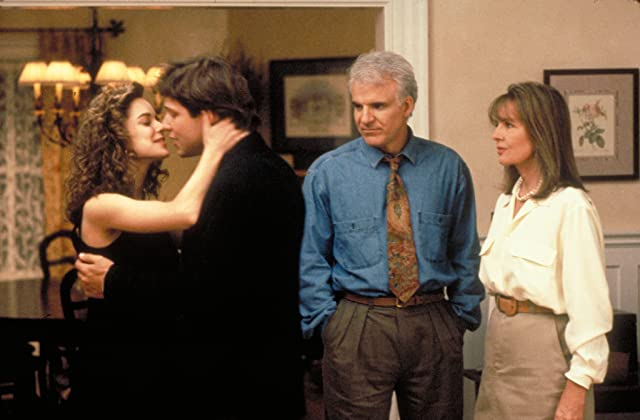 Steve Martin, Diane Keaton, George Newbern, and Kimberly Williams-Paisley in Father of the Bride (1991)