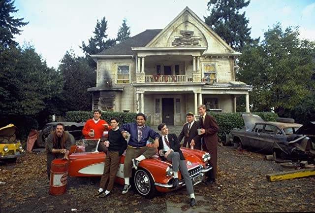 John Belushi, Tom Hulce, Tim Matheson, Stephen Furst, Bruce McGill, Peter Riegert, and James Widdoes in Animal House (1978)