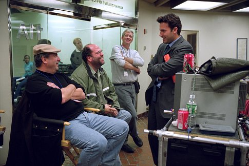 (Left to right) Director Roger Michell, producer Scott Rudin and Ben Affleck on the set of