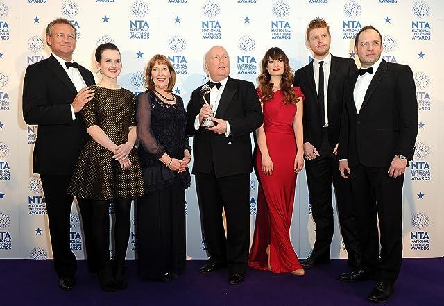 Hugh Bonneville, Sophie McShera, Phyllis Logan, creator Julian Fellowes, Lily James, winner of Drama award for