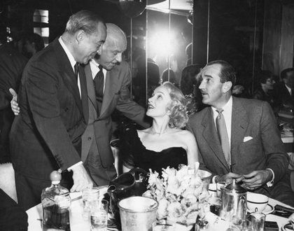 Marlene Dietrich with Richard Rodgers, Walter Winchell, and Lee Bowman at the Stork Club, New York City