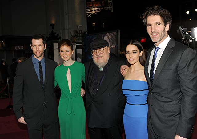 George R.R. Martin, David Benioff, D.B. Weiss, Rose Leslie, and Emilia Clarke at an event for Game of Thrones (2011)