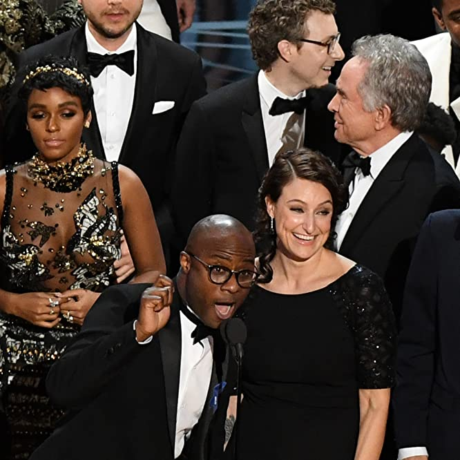 Warren Beatty, Barry Jenkins, Adele Romanski, Nicholas Britell, and Janelle Monáe at an event for Moonlight