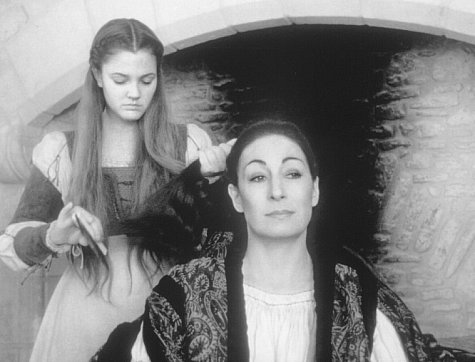 Drew Barrymore and Anjelica Huston in Ever After: A Cinderella Story (1998)