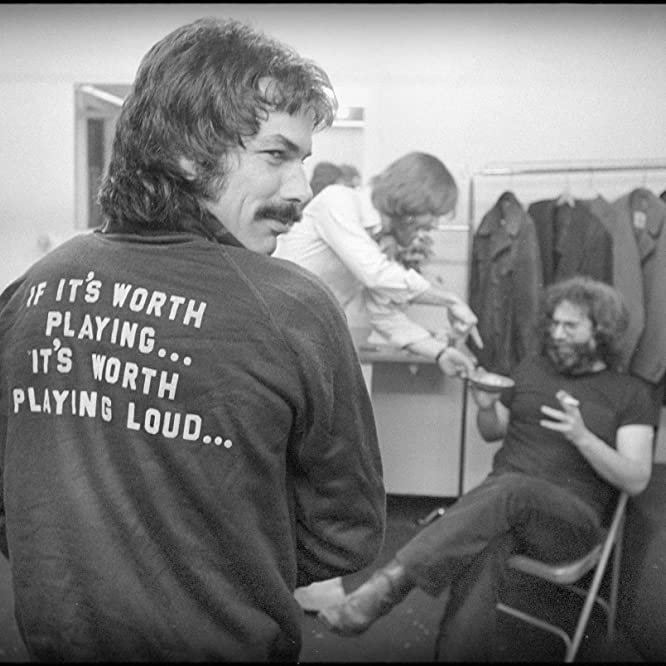 Mickey Hart, Bob Weir, and Jerry Garcia backstage in 1977.