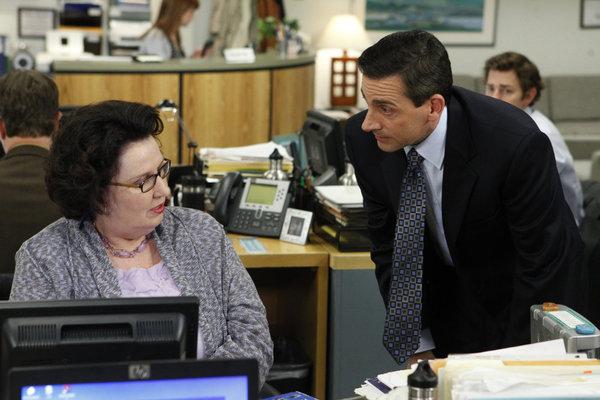 Steve Carell, Phyllis Smith, and John Krasinski in The Office (2005)