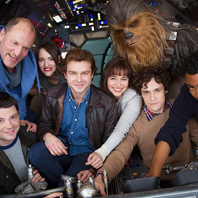Woody Harrelson, Phil Lord, Christopher Miller, Donald Glover, Alden Ehrenreich, Phoebe Waller-Bridge, Emilia Clarke, and Joonas Suotamo in Untitled Han Solo Star Wars Anthology Film (2018)