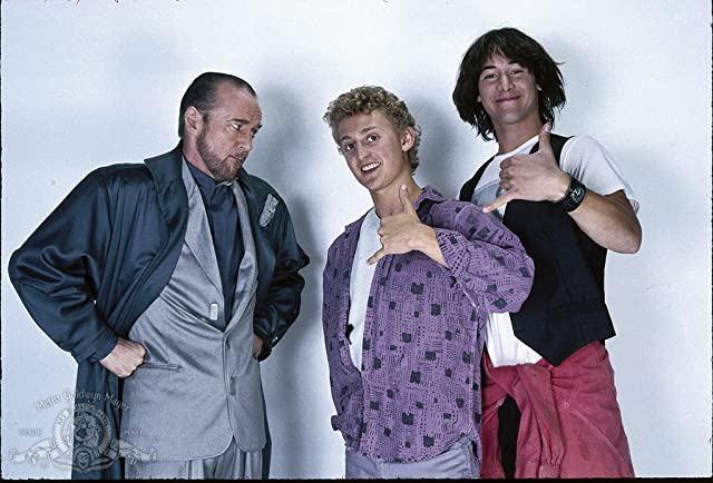 Keanu Reeves, George Carlin, and Alex Winter in Bill & Ted's Excellent Adventure (1989)