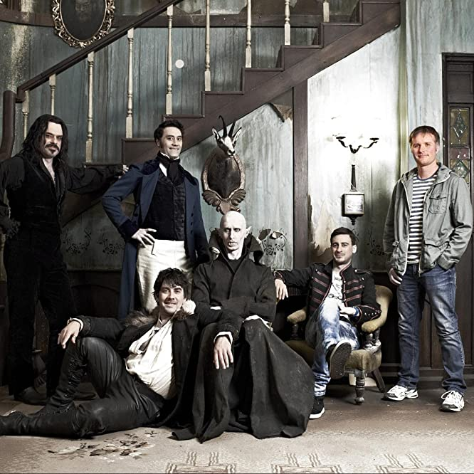 Taika Waititi, Ben Fransham, Cori Gonzalez-Macuer, Jemaine Clement, Jonny Brugh, and Stu Rutherford in What We Do in the Shadows (2014)