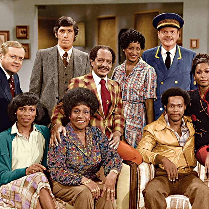 Marla Gibbs, Paul Benedict, Franklin Cover, Mike Evans, Sherman Hemsley, Roxie Roker, Isabel Sanford, Berlinda Tolbert, and Ned Wertimer in The Jeffersons (1975)