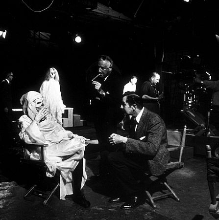William Castle, director, and Vincent Price on the set of