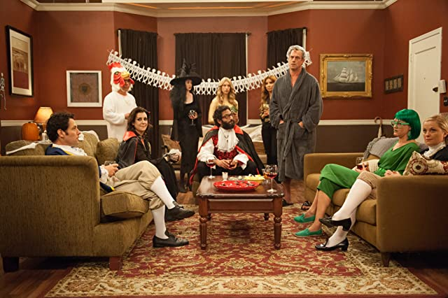 Melanie Lynskey, Christopher Meloni, Amy Poehler, Paul Rudd, and Jason Mantzoukas in They Came Together (2014)