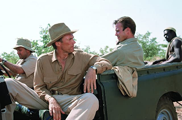 Clint Eastwood, Jeff Fahey, and Boy Mathias Chuma in White Hunter Black Heart (1990)