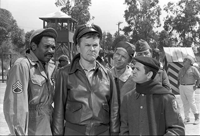 Robert Clary, Bob Crane, Richard Dawson, Ivan Dixon, and Larry Hovis in Hogan's Heroes (1965)