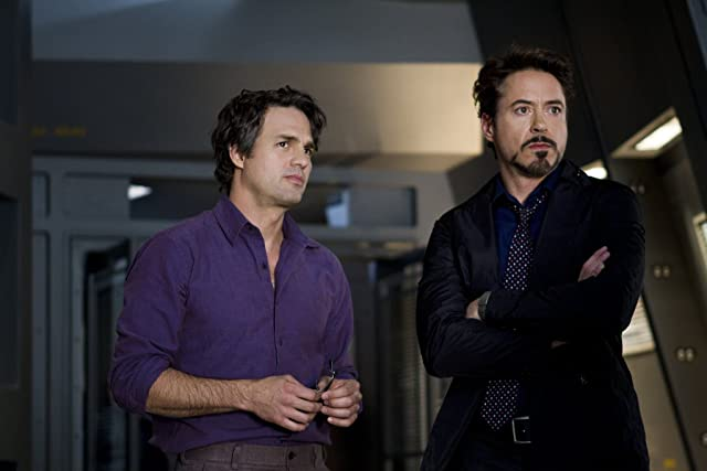 Robert Downey Jr. and Mark Ruffalo in The Avengers (2012)