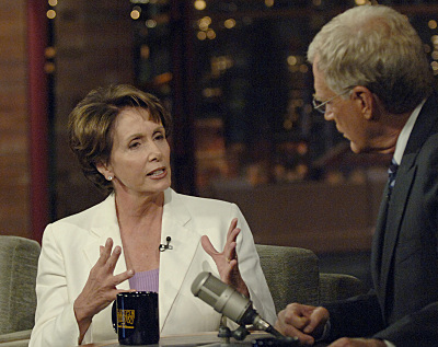 David Letterman and Nancy Pelosi in Late Show with David Letterman (1993)