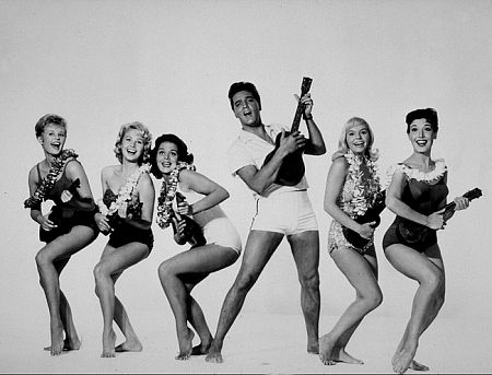Elvis Presley with Pamela Akert, Darlene Tompkins, Joan Blackman, Jenny Maxwell, and Christian Kay in