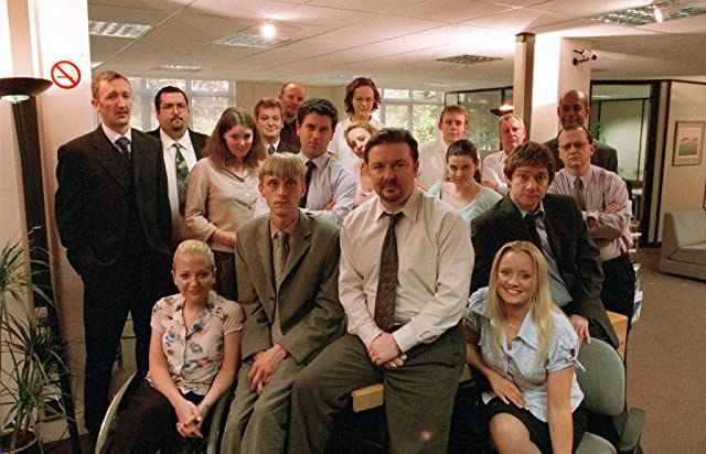 Mackenzie Crook, Lucy Davis, Martin Freeman, and Ricky Gervais in The Office (2001)