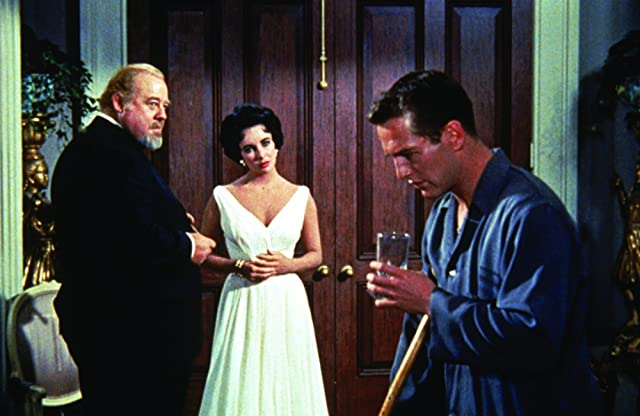 Paul Newman, Elizabeth Taylor, and Burl Ives in Cat on a Hot Tin Roof (1958)