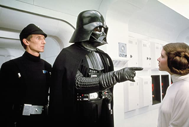 Carrie Fisher, David Prowse, and Al Lampert in Star Wars: Episode IV - A New Hope (1977)