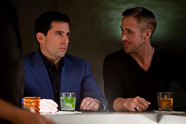 Steve Carell and Ryan Gosling in Crazy, Stupid, Love. (2011)