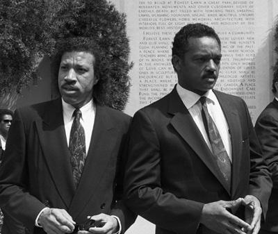 Lionel Richie and Jesse Jackson at Sammy Davis Jr.'s funeral