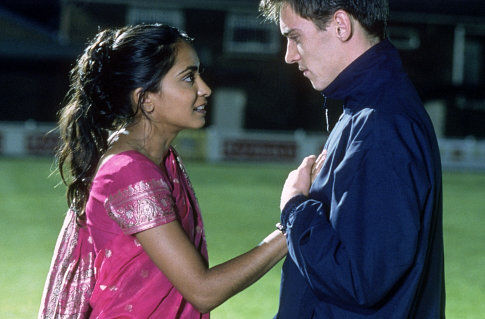 Jonathan Rhys Meyers and Parminder Nagra in Bend It Like Beckham (2002)