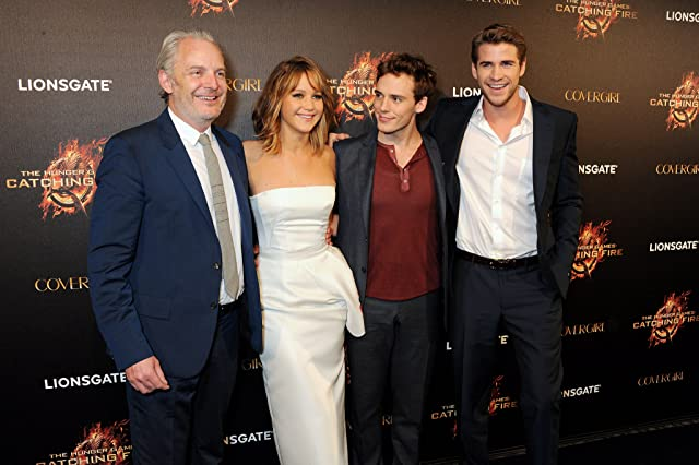 Francis Lawrence, Jennifer Lawrence, Liam Hemsworth, Sam Claflin, and Lawrence Sam at The Hunger Games: Catching Fire (2013)