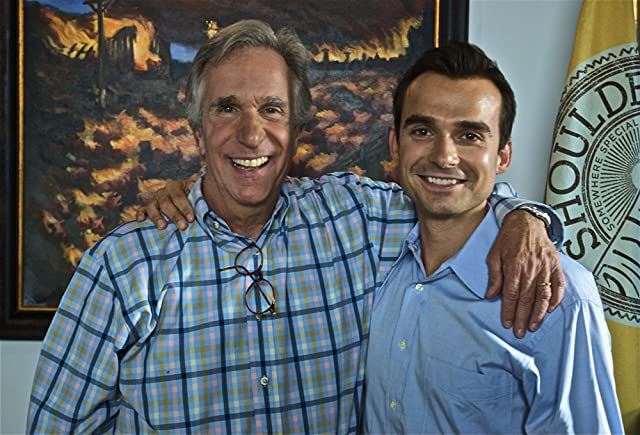 Henry Winkler and Thomas Michael on the set of