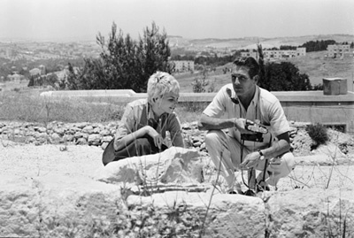 Paul Newman and Joanne Woodward on location in Israel during the making of