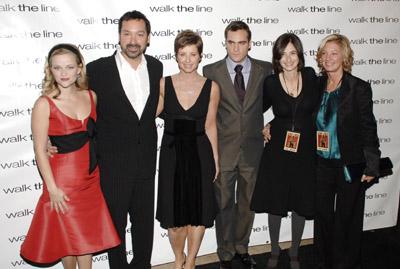 Reese Witherspoon, Joaquin Phoenix, James Mangold, Carla Hacken, Cathy Konrad, and Elizabeth Gabler at Walk the Line (2005)