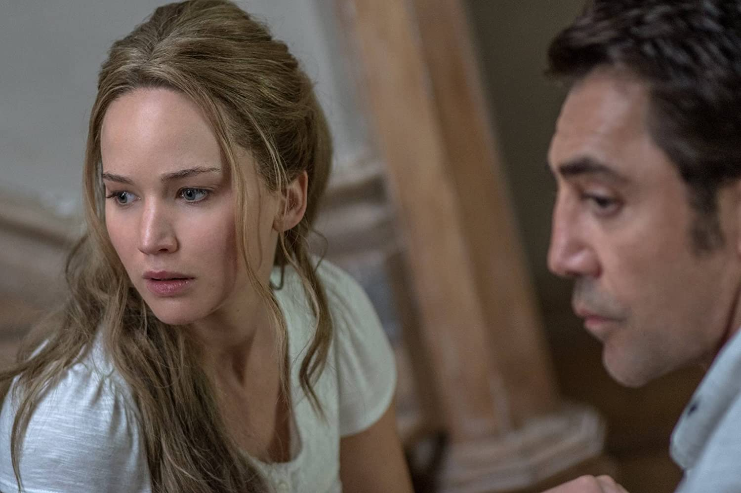 Javier Bardem and Jennifer Lawrence in Mother! (2017)