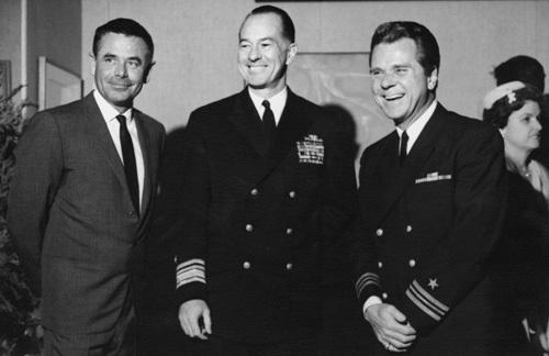Glenn Ford, Rear Admiral W.P. Mack and Jackie Cooper circa 1961