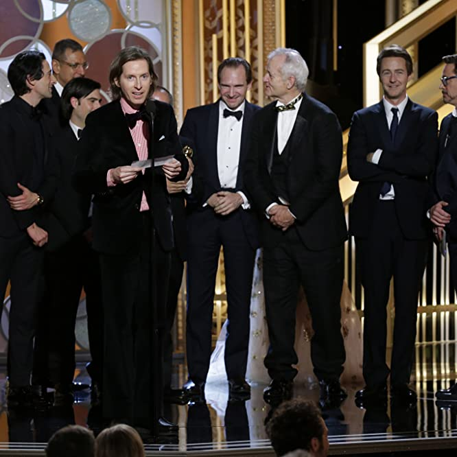 Ralph Fiennes, Jeff Goldblum, Bill Murray, Robert Downey Jr., Edward Norton, Adrien Brody, Jason Schwartzman, and Wes Anderson at an event for 72nd Golden Globe Awards (2015)