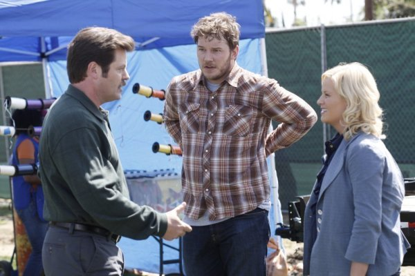 Nick Offerman, Amy Poehler, and Chris Pratt in Parks and Recreation (2009)